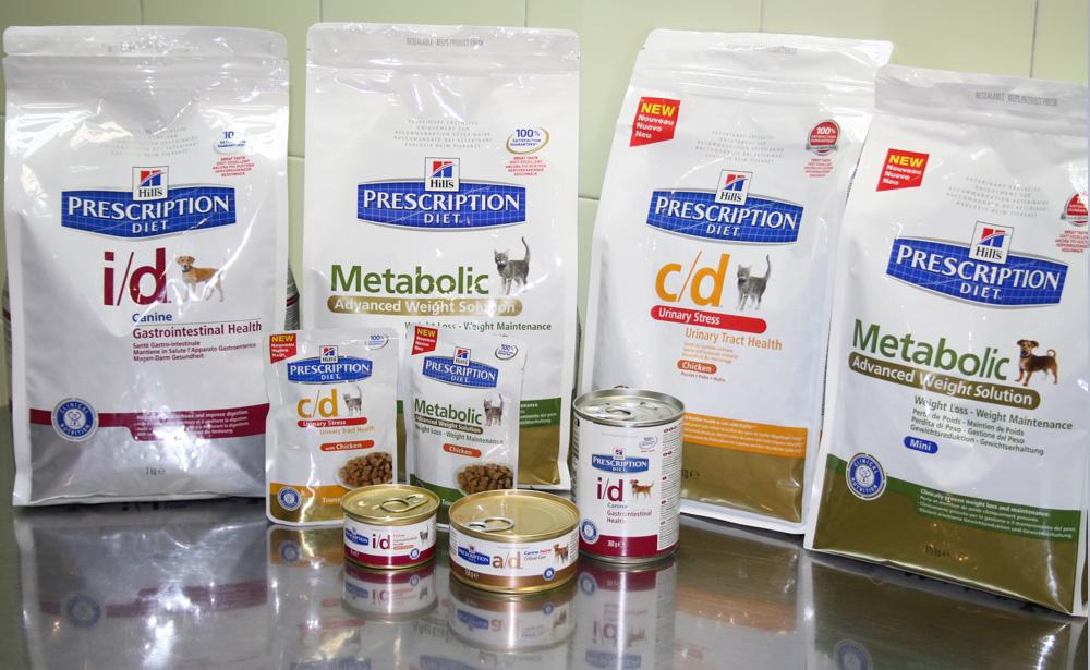 productos para dietas animales en la tienda de Clínica Veterinaria Villava